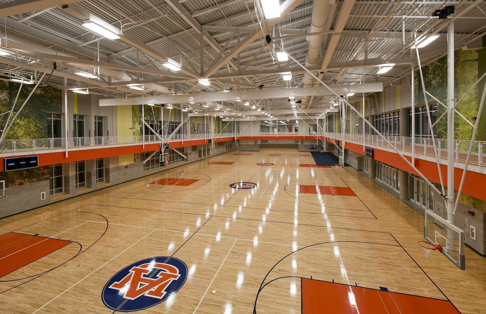 Basketball courts and indoor track at the Auburn University Recreation and Wellness Center
