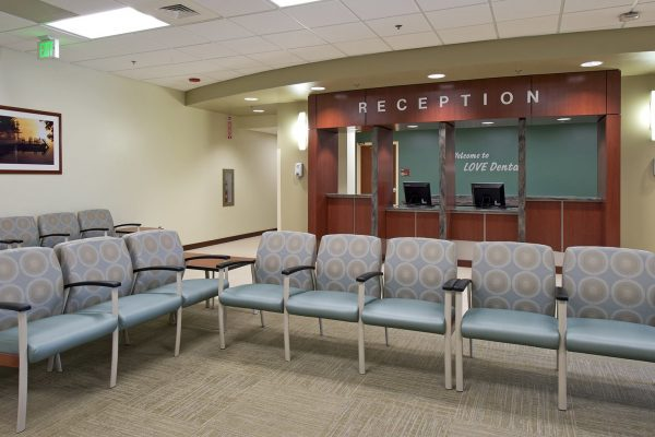 First floor reception area at the Love Dental Clinic at Fort Benning