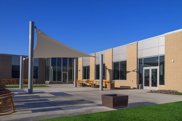 Patio with canopy outside the National Intrepid Center of Excellence facility in Fort Hood