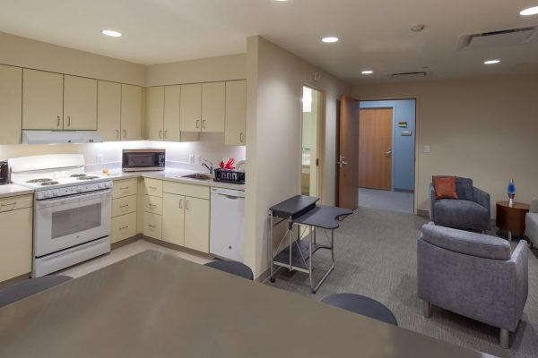 Living skills and kitchen area inside the National Intrepid Center of Excellence facility in Fort Hood