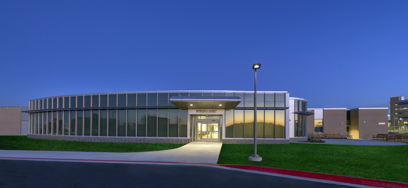 Exterior view of the National Intrepid Center of Excellence facility in Fort Hood