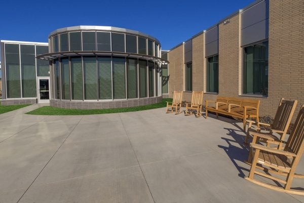 Front patio at the National Intrepid Center of Excellence facility in Fort Hood