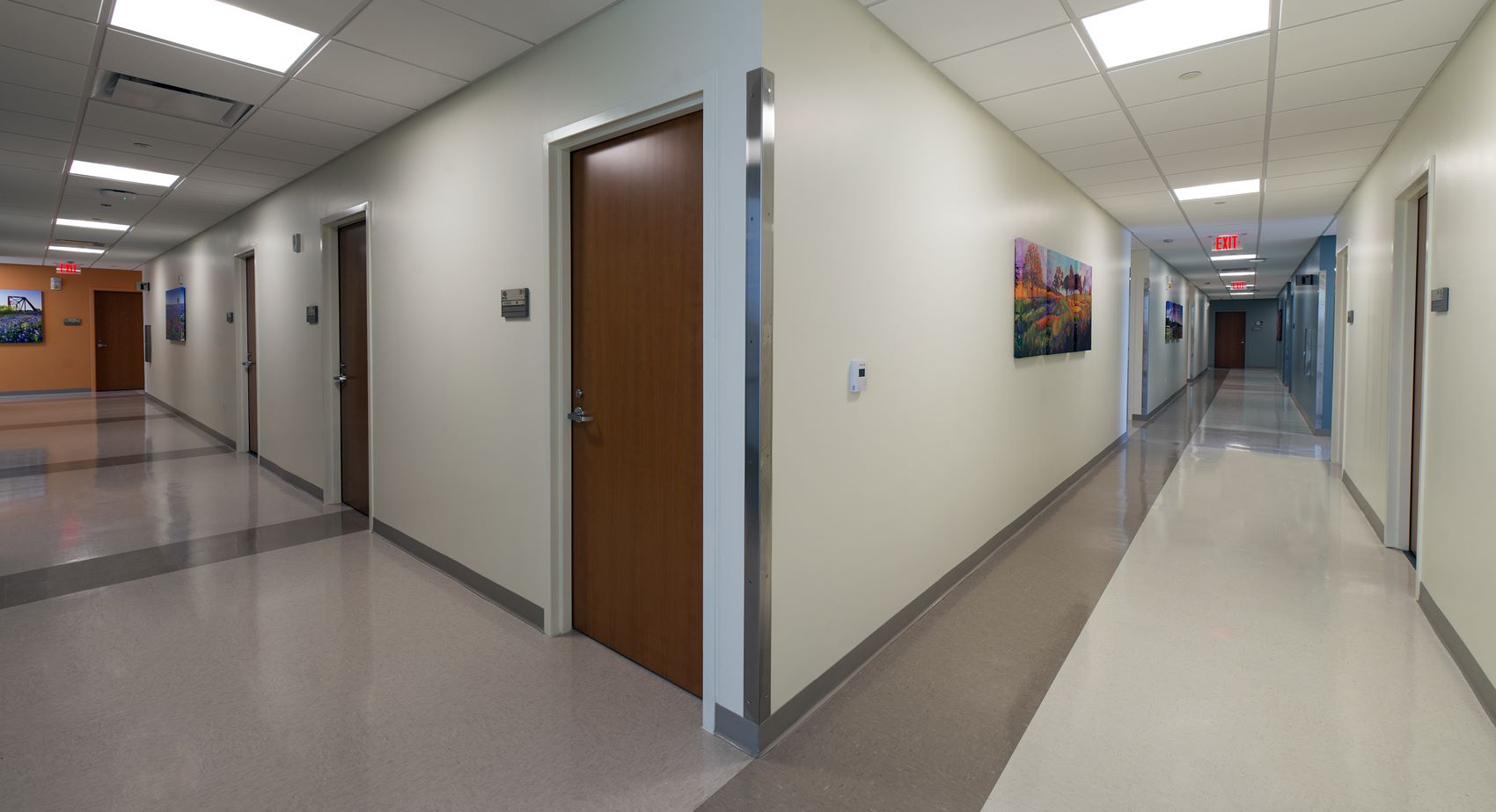Hallway inside the National Intrepid Center of Excellence facility in Fort Hood