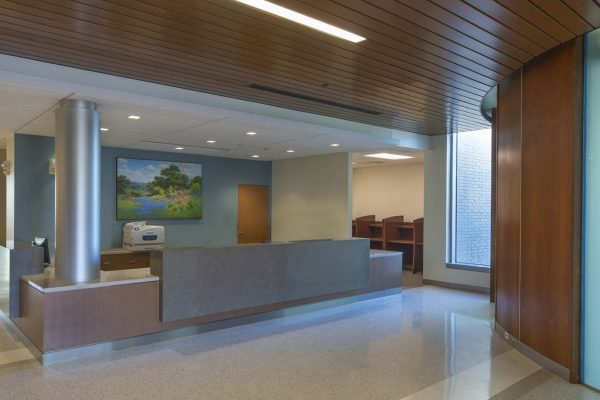 Reception desk at the National Intrepid Center of Excellence facility in Fort Hood