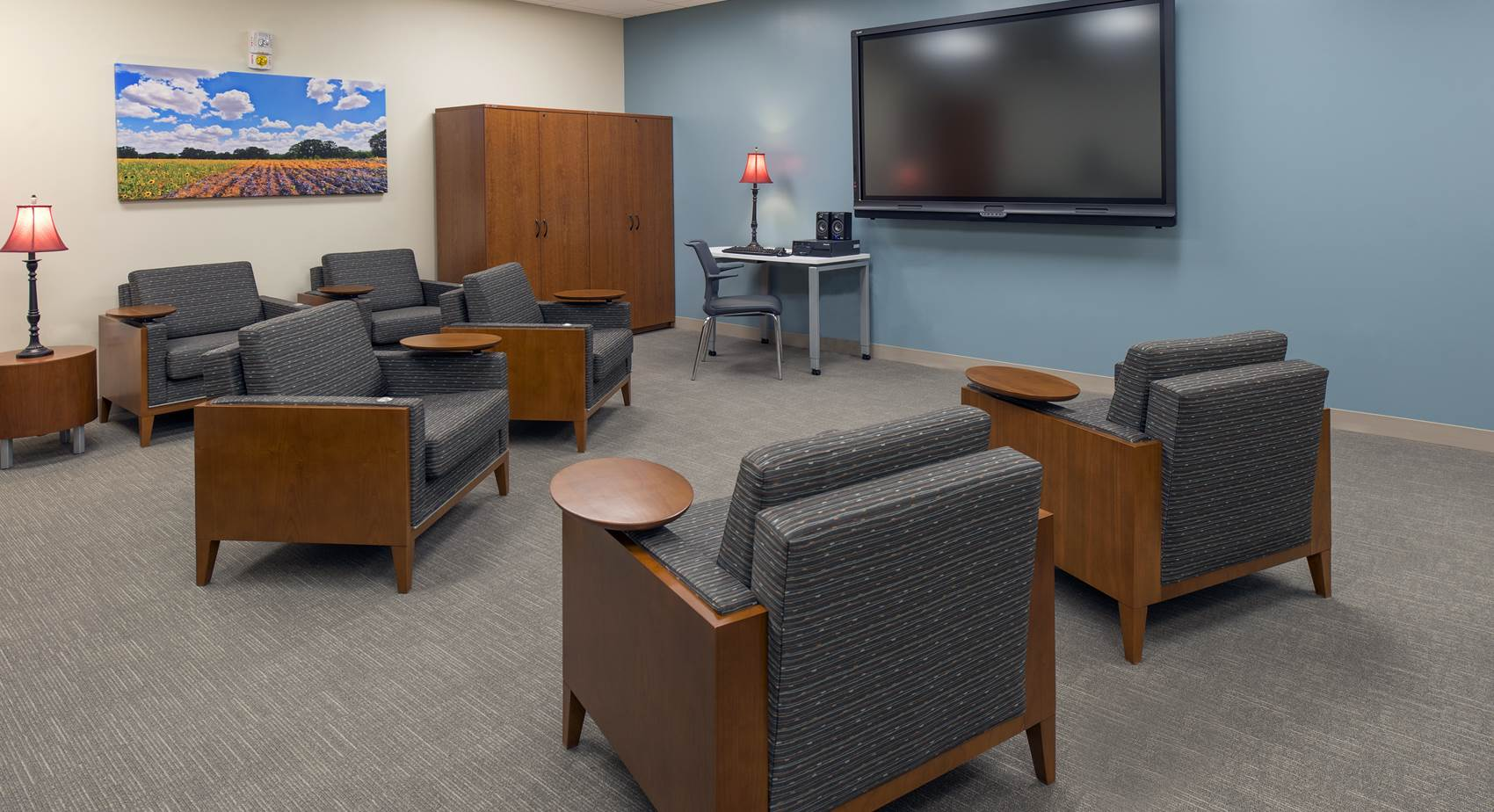 Staff lounge area at the National Intrepid Center of Excellence facility in Fort Hood