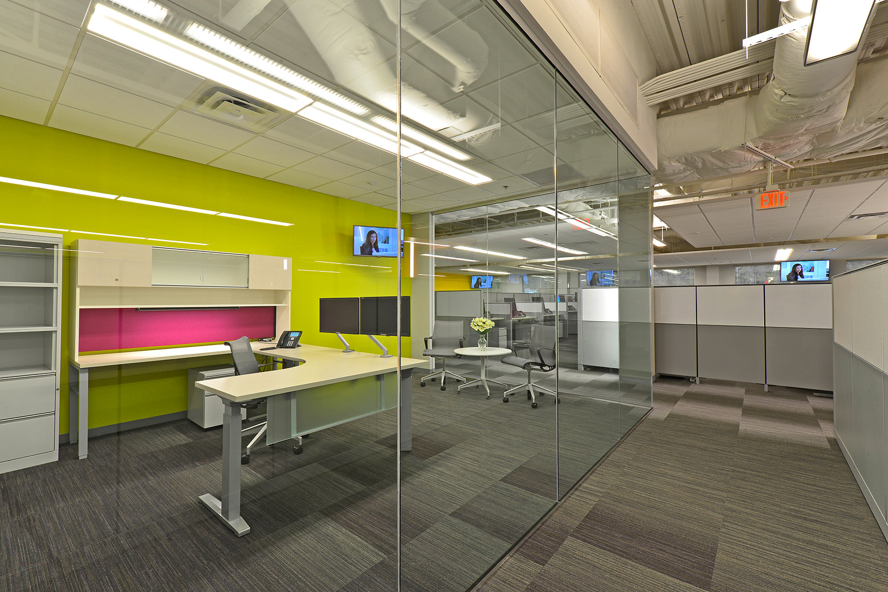 Glass walled offices inside the T Mobile Corporate Office