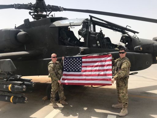 soldiers with a helicopter