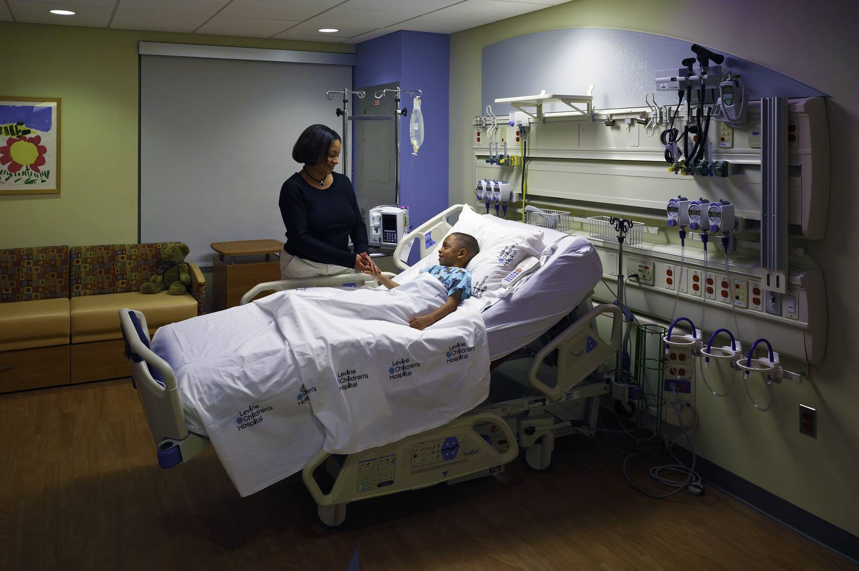 A patient room at Levine Children's Hospital