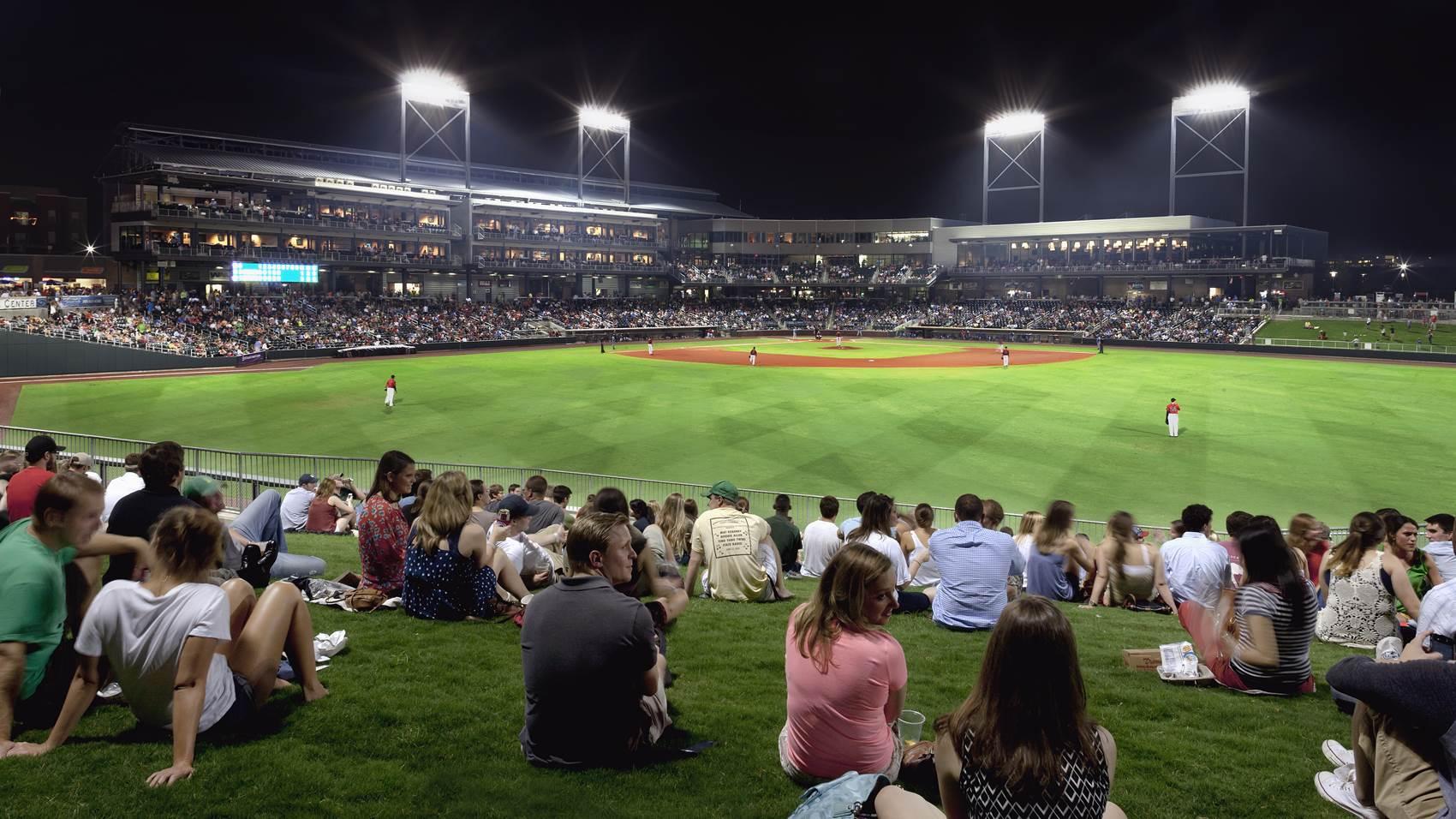 Regions Field at night