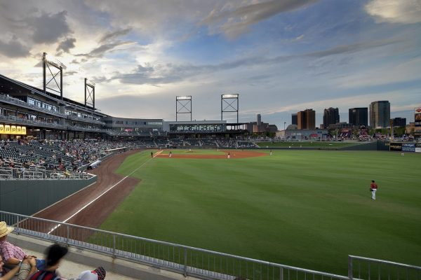View of downtown Birmingham skyline at Regions Field