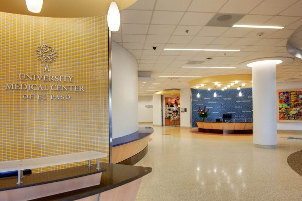 Admissions and information desk at University Medical Center of El Paso