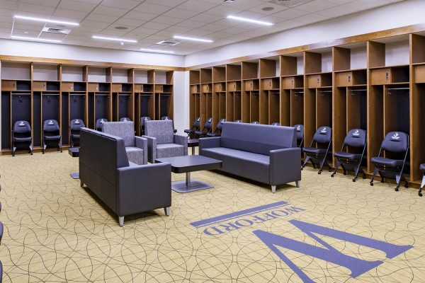 Locker room inside the Jerry Richardson Indoor Arena at Wofford College