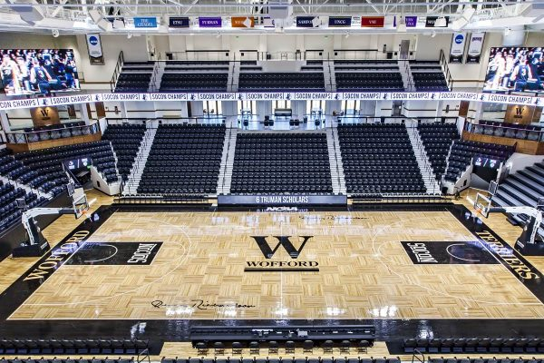 View inside the Jerry Richardson Indoor Arena at Wofford College