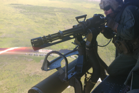 soldier in a helicopter