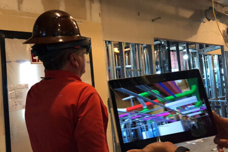 construction worker using augmented reality