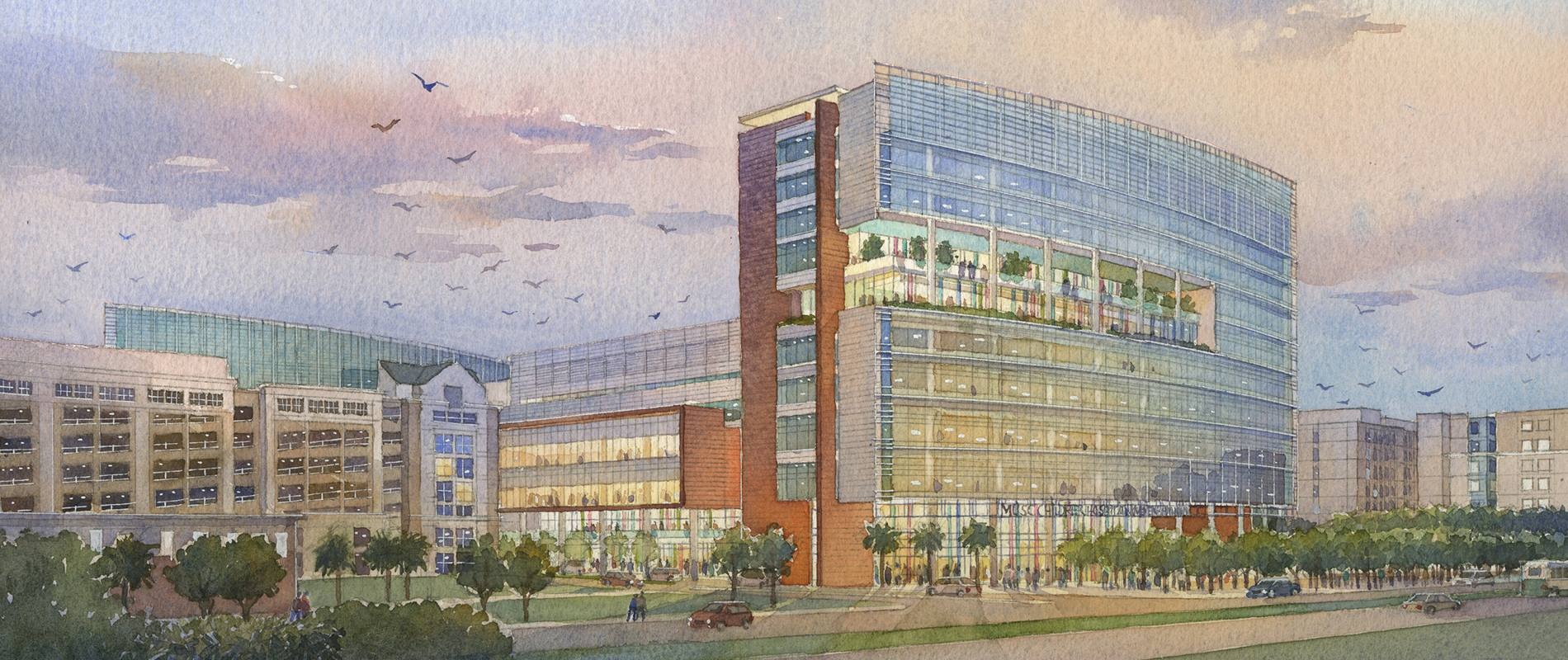 watercolor rendering of the Shawn Jenkins Childrens Hospital and Womens Pavilion project
